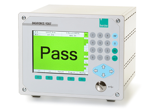 universell prozess controller überwachung monitoring einpressen fügen drehmoment verlauf feder schalter prüfung widerstand messung signaltesting leckage digiforce 9307 sensoren kraft weg überwachung profibus profinet ethernet ip ethercat dms poti normsignal incrementell endat ssi piezo burster universal process controller monitoring press fit joining operation torque process curve spring switch testing resistance measurement signal testing leak detection sensors force displacement monitoring strain gauge gage standard signal